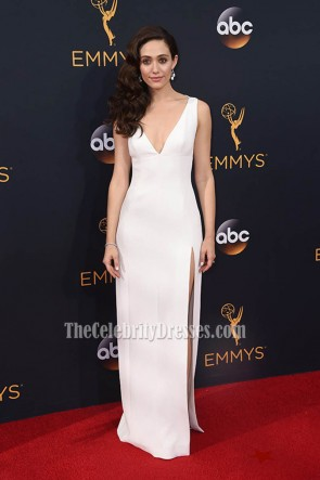 Emmy Rossum White Deep V High Slit Evening Prom Gown 68th Prime time Emmy Awards  1