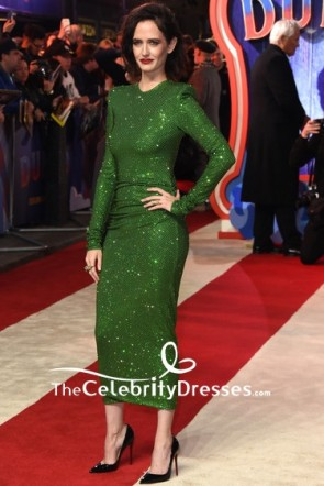Eva Green Sequined Bodycon Cocktail Dress With Long Sleeves European premiere of 'Dumbo'