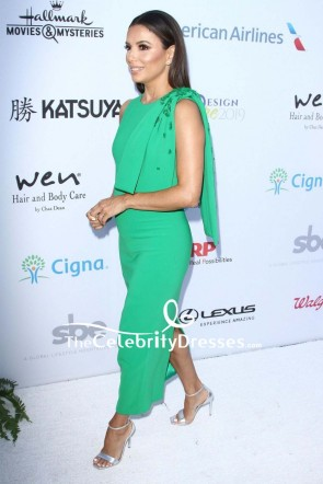 Eva Longoria Bowed Shoulder Green Dress 2019 DesignCare Gala TCD8614