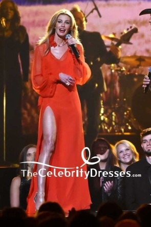 Faith Hill Red Chiffon Thigh-high Slit Evening Dress With Long Sleeves 2017 CMA Awards Red Carpet