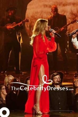 Faith Hill Rouge en mousseline de soie robe de soirée à manches longues avec des manches longues 51e tapis rouge annuel CMA Awards