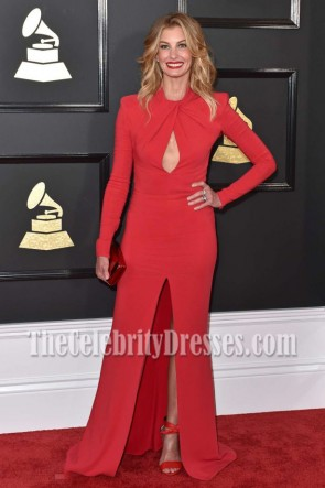 Faith Hill Red Long Sleeves Cutout Slit Evening Dress 2017 GRAMMY Awards Prom Gown