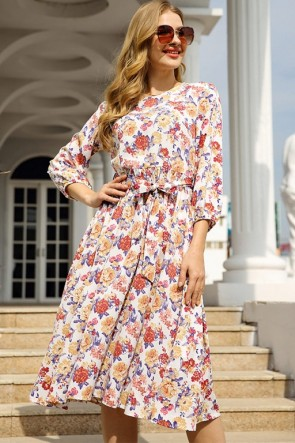 Fashion Floral Midi Dress With Sleeves