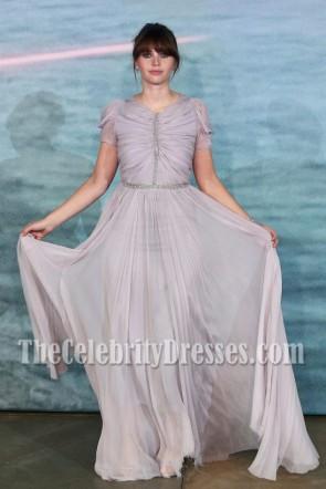 Felicity Jones - Robe de soirée en perles argentées Star Wars spin-off Rogue One