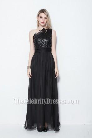Floor Length Black One Shoulder Prom Gown