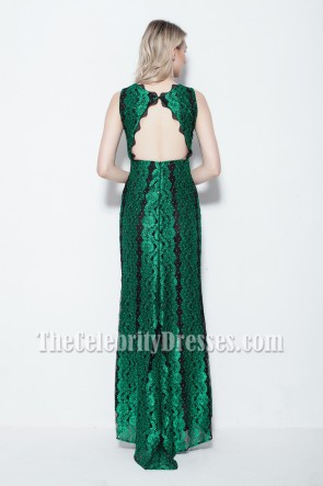 Floor Length Lace Backless Evening Dress Formal Gown
