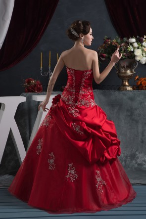 Floor Length Red Strapless Embroidered A-Line Formal Pageant Dress