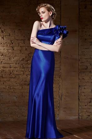 Floor Length Royal Blue One Shoulder Evening Formal Dresses TCDC30855