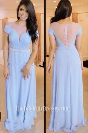 Floor Length Sky Blue Short Sleeve Evening Gown Prom Dress