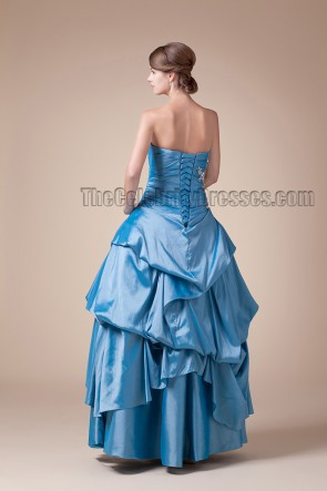 Floor Length Strapless Blue A-Line Formal Dress Prom Gown