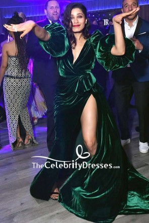 Freida Pinto Dark Green Velvet Wrap Formal Dress 2020 Vanity Fair Oscar Party TCD8875