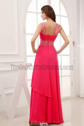 Fuchsia Beaded Prom Gown Evening Bridesmaid Dresses