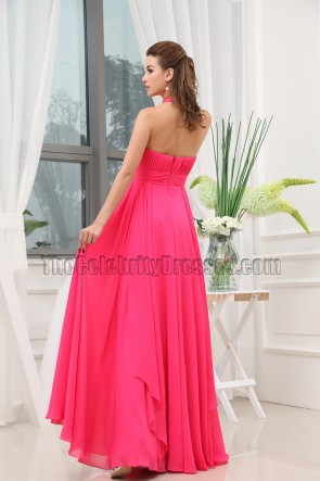 Fuchsia Halter Chiffon Long Bridesmaid Prom Dresses