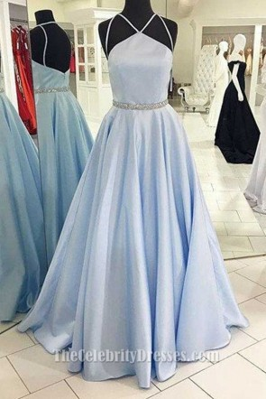 Full Length Light Sky Blue A-Line Prom Dress Evening Formal Gown