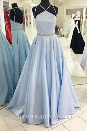 Full Length Light Sky Blue A-Line Prom Dress Evening Formal Gown