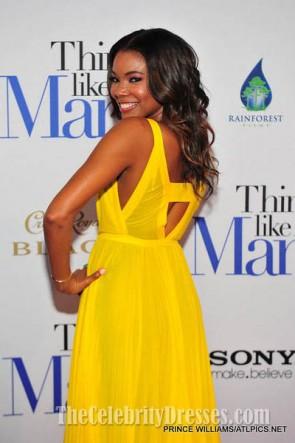 Gabrielle Union jaune en mousseline de soie robe de bal Penser comme un homme Premiere