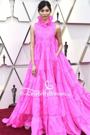 GEMMA CHAN Hot Pink Sleeveless Ball Gown OSCARS 2019 Red Carpet