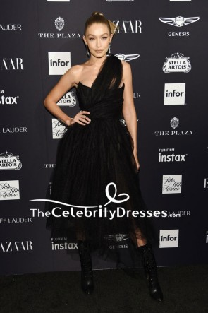 Gigi Hadid Black One-shoulder Tulle Evening Dress 2018 Harper's Bazaar Icons