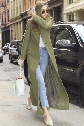 Gigi Hadid Olive Green Woolen Coat