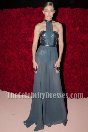 Gigi Hadid Grey Strapless Sequins Choker Evening Dress Chiffon Backless Prom Gown Met Gala 2016