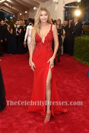Gigi Hadid Red Deep V-Neckline Sexy Lace Evening Prom Dress Met Gala 2015