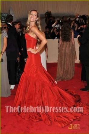 Gisele Bundchen Rouge Robe de Soirée Sans Bretelles Rob Gown 2011 Met Ball Red Carpet