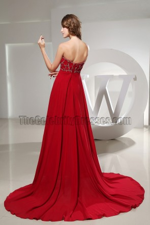 Red Strapless Sweetheart Beaded Bridesmaid Dress Prom Dresses