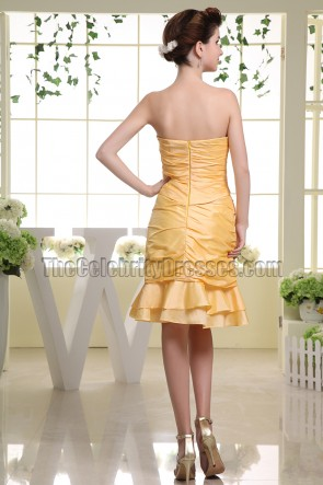 Yellow Strapless Cocktail Graduation Party Dresses