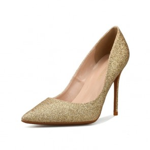 Gold Sequin Pointed Toe Prom Heels Dress Shoes