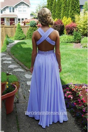 Gorgeous Cross back Floor Length Lavender Backless Evening Dress Prom Gown TCDFD7378