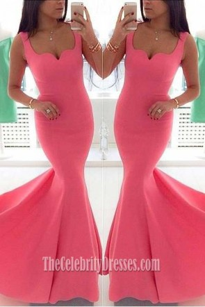 Gorgeous Pink Mermaid Prom Dress Evening Gown TCDFD7379