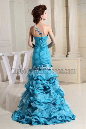 Blue Embroidery Mermaid Formal Dress Evening Dresses