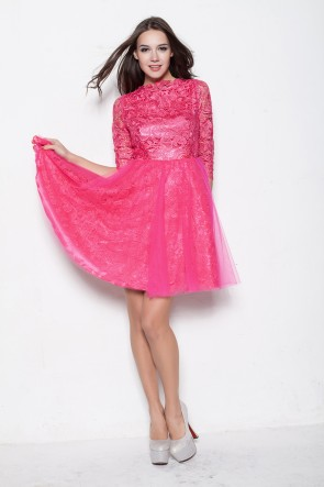 Gorgeous Fuchsia Lace A-Line Party Homecoming Dress TCDBF006