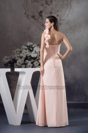 One Shoulder Chiffon Full Length Evening Dress Prom Gown