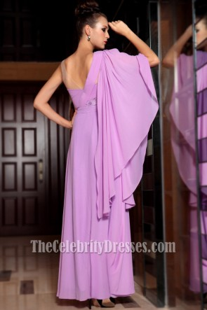 Glamorous One Sleeve Floor Length Prom Gown Evening Dress