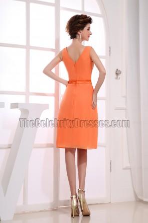 Gorgeous Orange Chiffon Knee Length Cocktail Dress Party Dresses