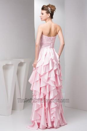 Pink Ruffles Strapless A-Line Prom Dress Evening Gown