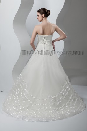 Gorgeous Strapless A-Line Chapel Train Lace Up Wedding Dress