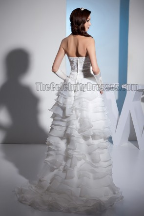 Gorgeous Strapless A-Line High Low Embroidered Wedding Dresses