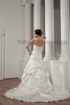 Gorgeous Strapless Beaded A-Line Lace Up Wedding Dresses