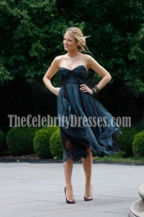 Blake Lively Blue Homecoming Wedding Guest Dress Gossip Girl Fashion