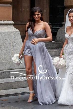 Grey Strapless Beaded High Low Bridesmaid Dress Sweet Heart Prom Dress
