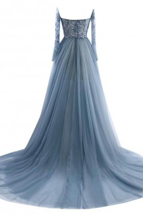 Gray Tulle Lace Long Sleeves Off-Shoulder Formal Prom Gown Evening Dresses TCDFD7527