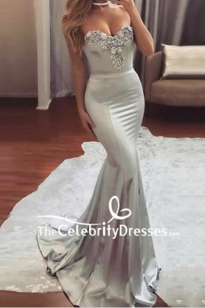 Grey Strapless Mermaid Embroidered Long Prom Formal Dress