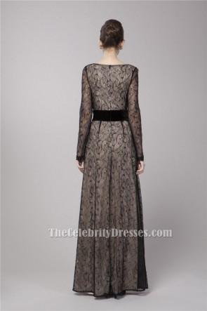 Gwyneth Paltrow Inspired Black Lace Long Sleeve Formal Evening Dress TCDBF051