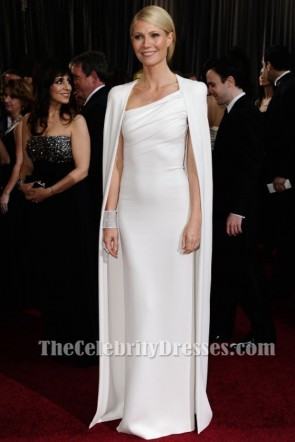 Gwyneth Paltrow White Caped Shorty Sleeves Sheath Evening Dress Oscars 2012