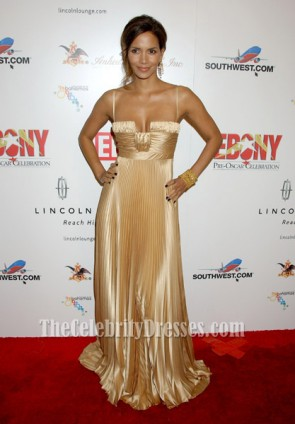 Halle Berry Classic Gold Pleated Evening Dress Ebony pre-Oscar party Dresses