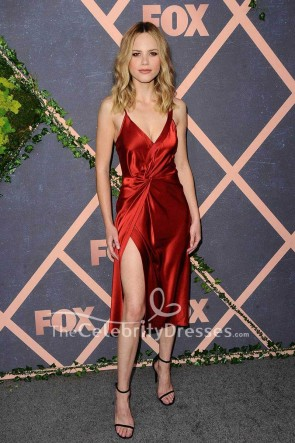 Halston Sage Dark Red Wrap Evening Party Dress Halston Sage