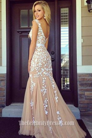 Handmade Styles Lace Appliques Mermaid Formal Dress Evening Gown