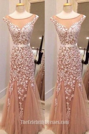 Handmade Styles Lace Appliques Mermaid Formal Dress Evening Gown TCDFD7380